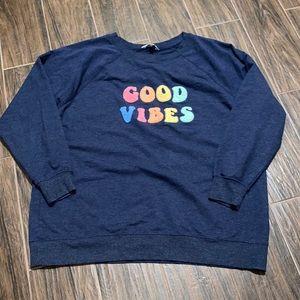 Wild fox Good Vibes blue sweater